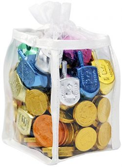 Hanukkah Gift Set of Dreidels and Chocolate Gelt Coins for Chanukah in Adorable Dreidel Shaped K ...