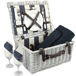 Home Innovation Picnic Basket for 2 with Waterproof Blanket, Durable Wicker Picnic Hamper Set, W ...