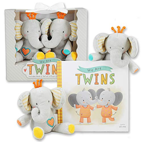 We are Twins – Baby and Toddler Twin Gift Set- Includes Keepsake Book and Set of 2 Plush E ...