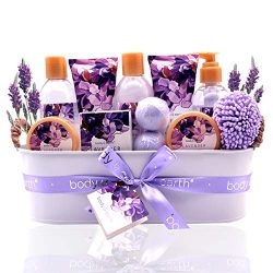 Bath Spa Gift Basket, Body & Earth Bath Gift Set 12 Pcs Lavender Scented, Includes Shower Ge ...