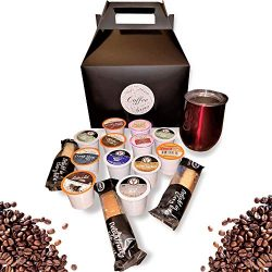 Coffee Sampler and Travel Mug Gift Set for Coffee Lovers (Glossy Red)
