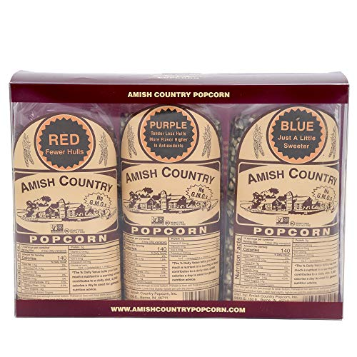 Amish Country Popcorn – Boxed Gift Set – 3 (1 lb bags) Red, Purple, Blue – Old ...
