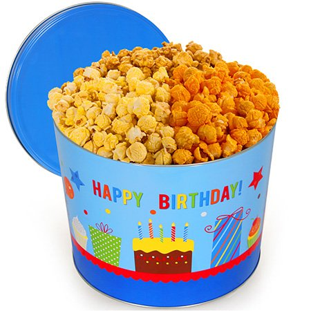 Happy Birthday Popcorn Tin (Traditional Mix, 2 Gallons)
