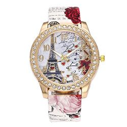 Women's Wrist Watch Vintage Paris Eiffel Tower Crystal Leather Quartz Wristwatch Best Gift ...