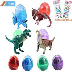 Greffor 4 Pack Jumbo Dinosaur Hatching Easter Eggs DeformDinosaur Party Favors Toys with Dinosa ...