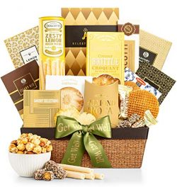 GiftTree Get Well As Good As Gold Gift Basket | Includes Almond Roca, Caramel Toffee Popcorn, Pe ...