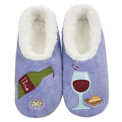 Snoozies Womens Classic Splitz Applique Slipper Socks | Wine O' Clock | Medium
