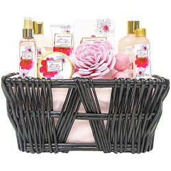 Green Canyon Spa Gift Baskets for Women Birthday Gift Sets 10 Pcs Cherry Blossom Essential Oil S ...