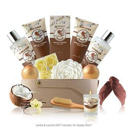Relaxing Skin Care and Bath Gift Basket Set for Women with Vanilla and Coconut Fragrance – ...