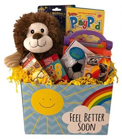 Deluxe Boys Feel Better Soon Get Well Gift Basket Care Package For Kids Prefilled with Toys, Act ...