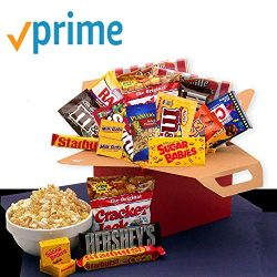 Movie Night Snacks Care Package with candy, chocolate and popcorn