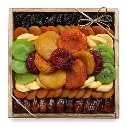 Milliard Dried Fruit Gift Platter Healthy Basket Arrangement on Pine Wood Tray for any Occasion  ...
