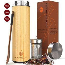 DOUNGURI Bamboo Tea Tumbler Mug with Strainer Infuser – 18 oz Vacuum Insulated Stainless S ...