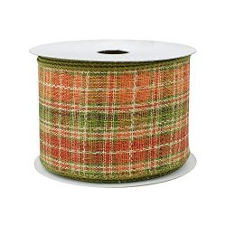 Fall Plaid Ribbon Wired Burlap – 2 1/2″ x 10 Yards, Moss, Ivory & Rust, Thanksgi ...