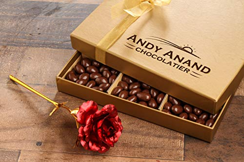 Andy Anand's Chocolate covered Almonds 1 lbs, Large 24K Gold Flower, Birthday, Valentine D ...