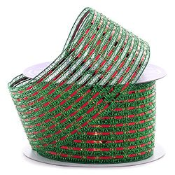 Metallic Tinsel Striped Christmas Ribbon – 2 1/2″ x 10 Yards, Red and Green Mesh, Wi ...
