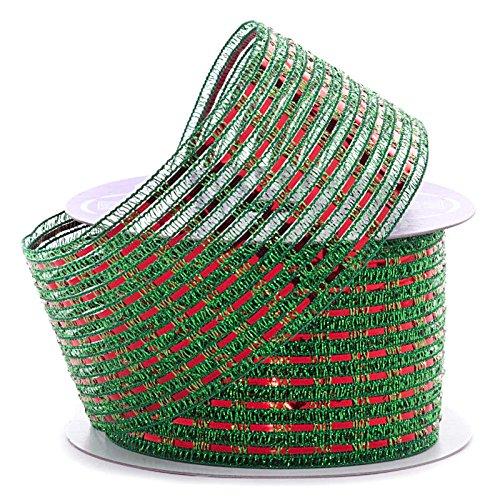 Metallic Tinsel Striped Christmas Ribbon – 2 1/2″ x 10 Yards, Red and Green Mesh, Wi ...