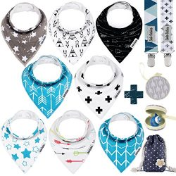 Baby Bandana Drool Bibs by Dodo Babies + 2 Pacifier Clips + Pacifier Case In a Gift Bag, Pack of ...