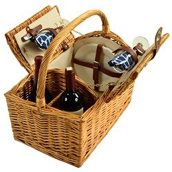 Picnic at Ascot Vineyard Willow Picnic Basket, Natural/Trellis Blue