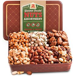 Two Pound Assorted Roasted Nuts Gift in Keepsake Tin