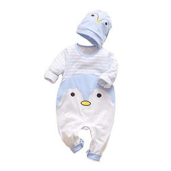 Emimarol Infant Baby Boys&Girls Long Sleeve Striped Penguin Romper Jumpsuit Clothes+Hat Blue