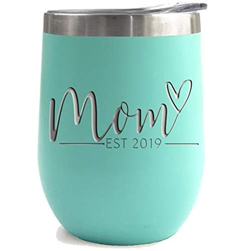 New Mom Gifts Ideas | First Time Mom Est. 2019 | Mom to be 12 oz Teal Stainless Steel Tumbler w/ ...