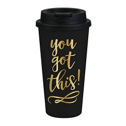 You Got This Travel Mug – Motivational Gifts for Women, Black and Gold Travel Tumbler