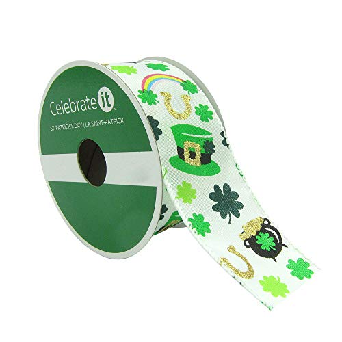Happy St. Patrick's Day Taffeta Wired Edge Ribbon with Leprechaun Hats Rainbows Pots of Go ...