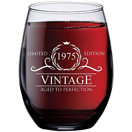 1975 44th Birthday Gifts for Women Men | 15 oz Stemless Wine Glass | 44 Year Old Gift Present Id ...