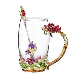 COAWG Flower Glass Tea Mug with Spoon, Lead Free Handmade Enamel Rose and Butterfly Clear Glass  ...