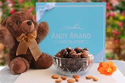 Andy Anand Milk Chocolate covered Almonds With Teddy Bear & Greeting Card in Gift Basket 1 l ...