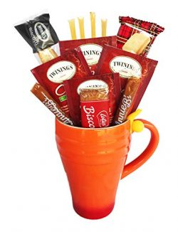 Golden Gift Box Fall Autumn Holiday Herbal Tea Collection With Honey, Mug, and Cookies – P ...