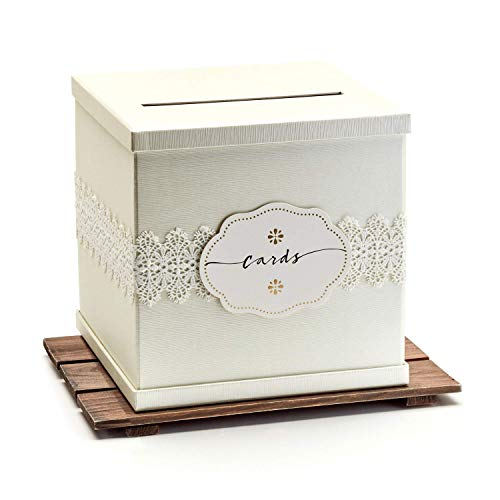 Hayley Cherie – Ivory Gift Card Box with White Lace and Cards Label – Ivory Textured ...