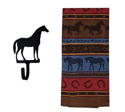 Rex and Rover Horse Kitchen Gifts – Western Dish Towel with Horse Shaped Magnetic Hook -2  ...