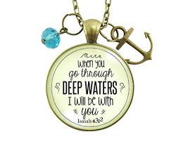 24″ Anchor Necklace Deep Waters Christian Inspired Bible Quote Pendant Encouraged Life Ver ...
