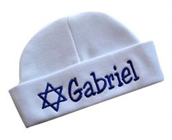 Embroidered Baby Boy Hat Personalized Keepsake Custom Infant Hat for Jewish Baby Boys with STAR  ...