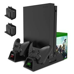 Charging Stand for Xbox One/Xbox One S/Xbox One X Console and Controllers, Vertical Cooling Stan ...