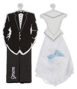 Darice VL2030 Bride and Groom Hankie Set, Black/White, 2 Per Pack