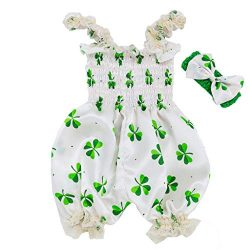 Randolly St. Toddler Baby Boy Girls St. Patrick's Day Sleeveless Suspender Romper Jumpsuit ...