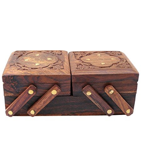 Valentine Day Special Gift, Wooden 2 Folding Jewelry Box Brass Inlay Unique Flower Design, Earri ...