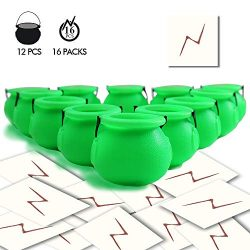 YoHold Mini Plastic Cauldron Pack of 12 and 16pcs Lightning Bolt Tattoos for Kids Wizard, St Pat ...