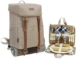 Picnic Backpack for 2 | Picnic Basket | Stylish All-in-One Portable Picnic Bag with Complete Cut ...