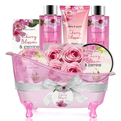 Bath Set for Women – Body&Earth 8 Pcs Gift Basket with Cherry Blossom & Jasmine Sc ...