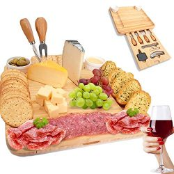 SUMPRI Bamboo Cheese Board Set -Charcuterie Board With Cutlery Set & Two Ceramic Bowls -Eleg ...