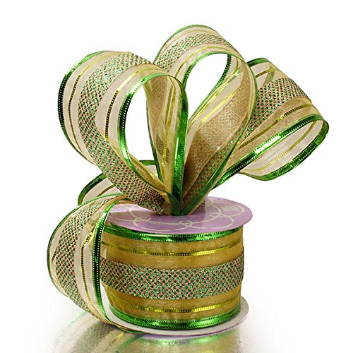 Green Striped Christmas Tree Ribbon – 2 1/2″ x 10 Yards, Wired Edge, Garland, Gifts, ...