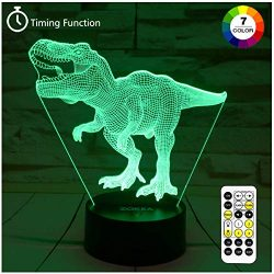 Dinosaur Toys, T Rex 3D Night Light 7 Colors Changing Night Lights for Kids with Timer & Rem ...