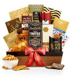 GiftTree Encore Gourmet Happy Birthday Gift Basket | Assortments of Popcorn, Almond Roca, Honey  ...