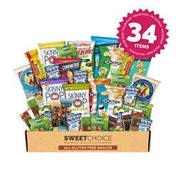 Snack Box Gluten Free Healthy Snacks Care Package (34 Count) for College Students, Exams, Father ...