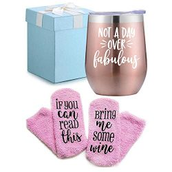 Wine Gifts Set for Women Wine Socks Gifts + Wine Tumbler with Funny Saying Not a Day Over Fabulo ...