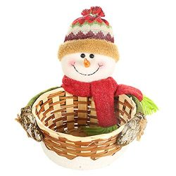 discountstore145 Christmas Candy Gift Basket,Merry Christmas Drawstring Snowman/Elk/Santa Patter ...